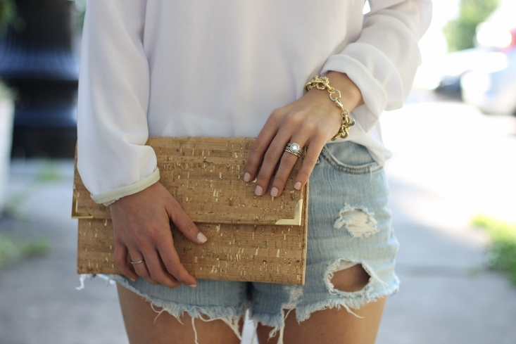 Cutoff Jean shorts with cork clutch