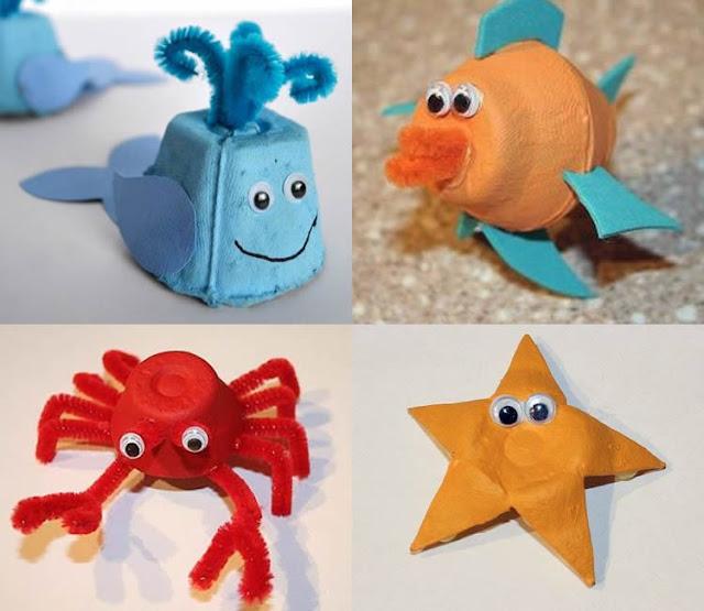 animales marinos  manualidades con hueveras de cartón