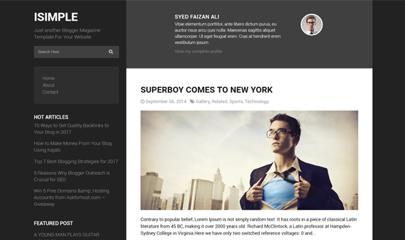 iSimple Classic Layout Responsive Blogger Template | Templateism