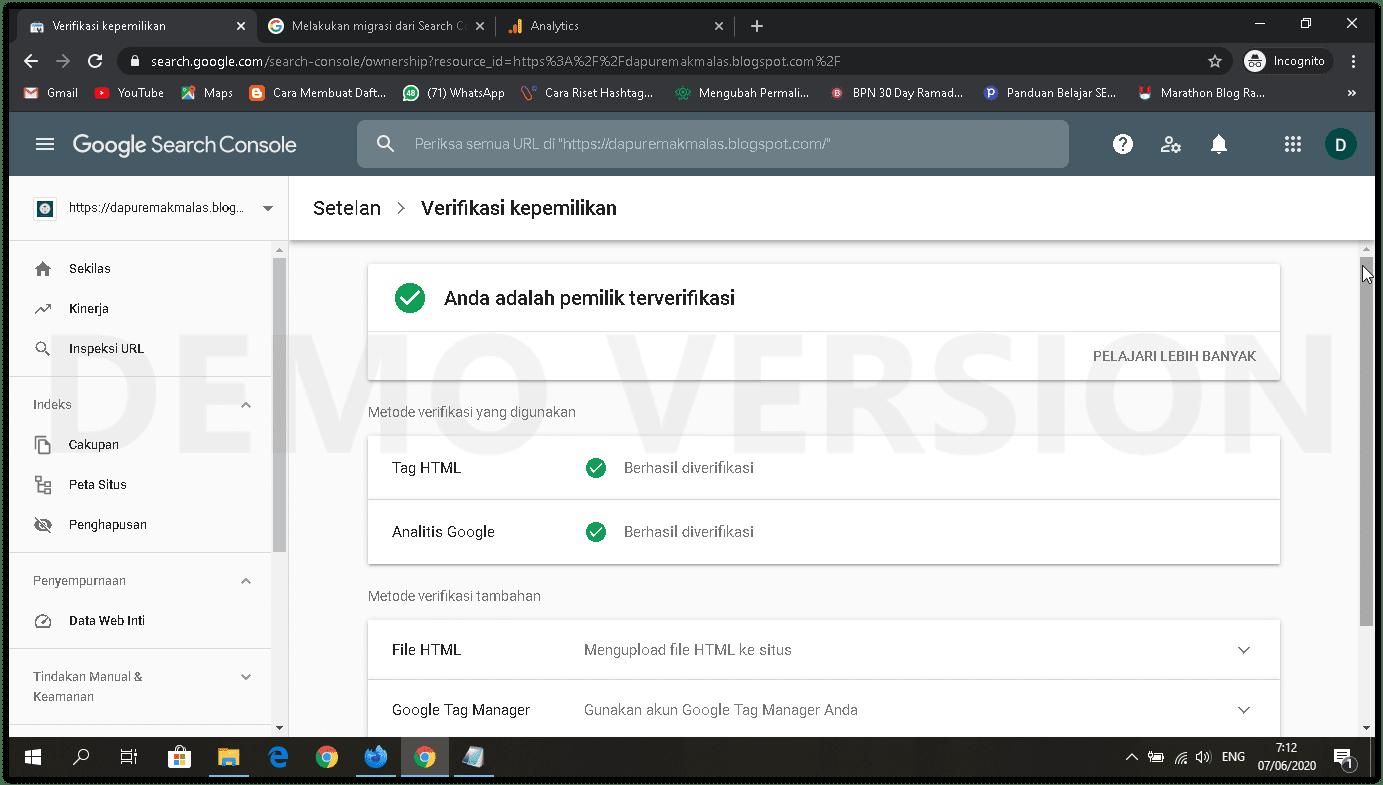 verifikasi kepemilikan google search console