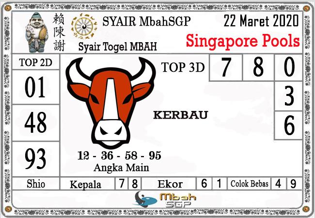 Prediksi Togel Singapura Minggu 22 Maret 2020 - Syair Mbah SGP