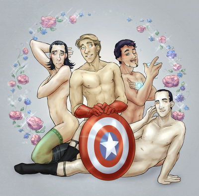 Avengers pinup Loki Stve Tony and that dead guy