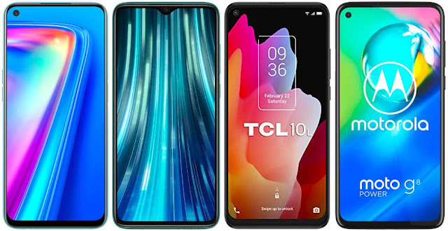 Realme 7 vs Xiaomi Redmi Note 8 Pro vs TCL 10L vs Motorola Moto G8 Power