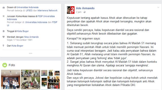 Ade Armando: 'Allah melarang Umat Islam Pilih Pemimpin Nasrani' adalah Pernyataan 'Bohong'