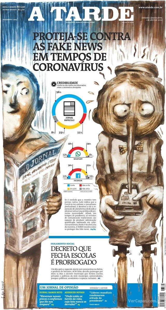 Manchetes dos jornais e destaques dos sites nesta quarta-feira, 1º de Abril 2020