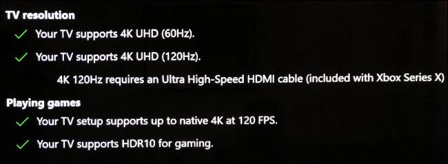 """أقسام """"دقة التلفزيون"""" و """"تشغيل الألعاب"""" في قائمة """"عرض تلفزيون 4K"""" على Xbox."""