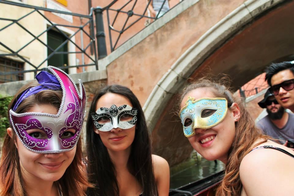 Gondola in masks Venice
