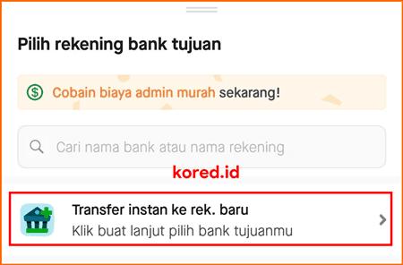 transfer instan gopay