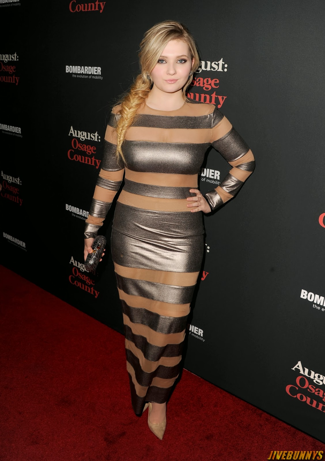 Winning Abigail Breslin Sheer & Striped Dress at August Osage County Premiere
