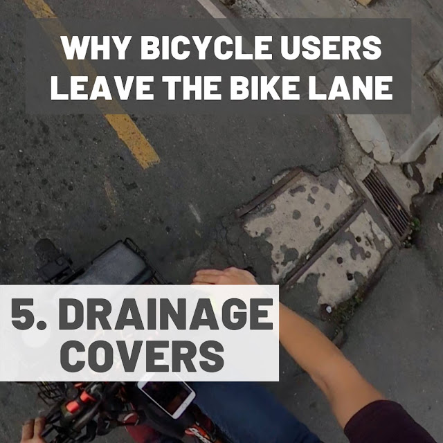 Uneven drainage covers and potholes in bike lanes