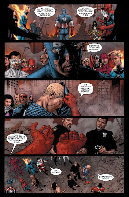 Captain America surrenders to the Policemen in Marvel's Civil War 2006 Issue #7