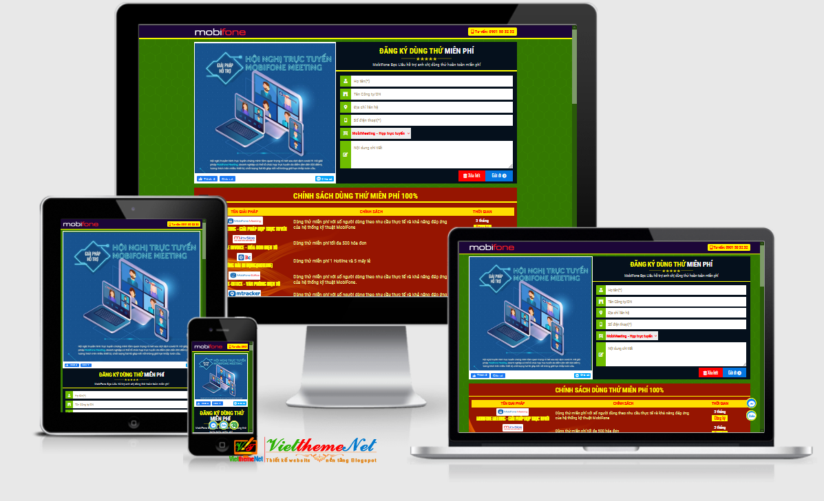 VSimlandpage - Một mẫu giao diện Landing Page về kinh doanh sim số dành cho Blogspot