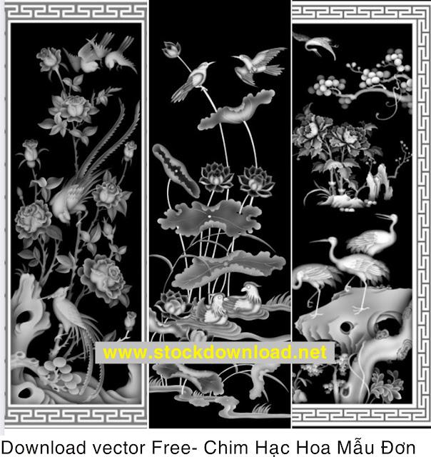 Kho mẫu CNC free hoa mẫu đơn chim hạc