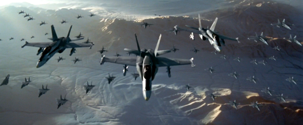 An armada of F/A-18 Hornets and other fighter aircraft prepare to defend Area 51 from an approaching alien destroyer in INDEPENDENCE DAY.