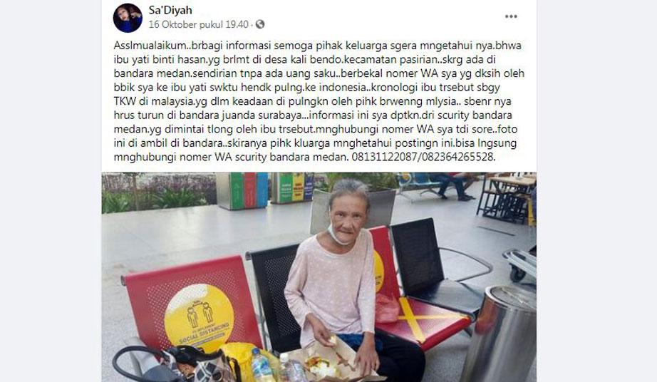 TKI asal Lumajang Dikabarkan Terlantar di Medan