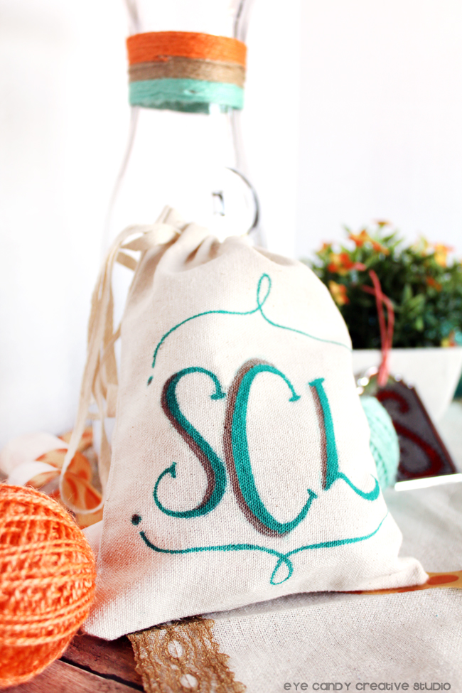 monogram, linen bag, initials, twine, target crafts, gift ideas, personalize