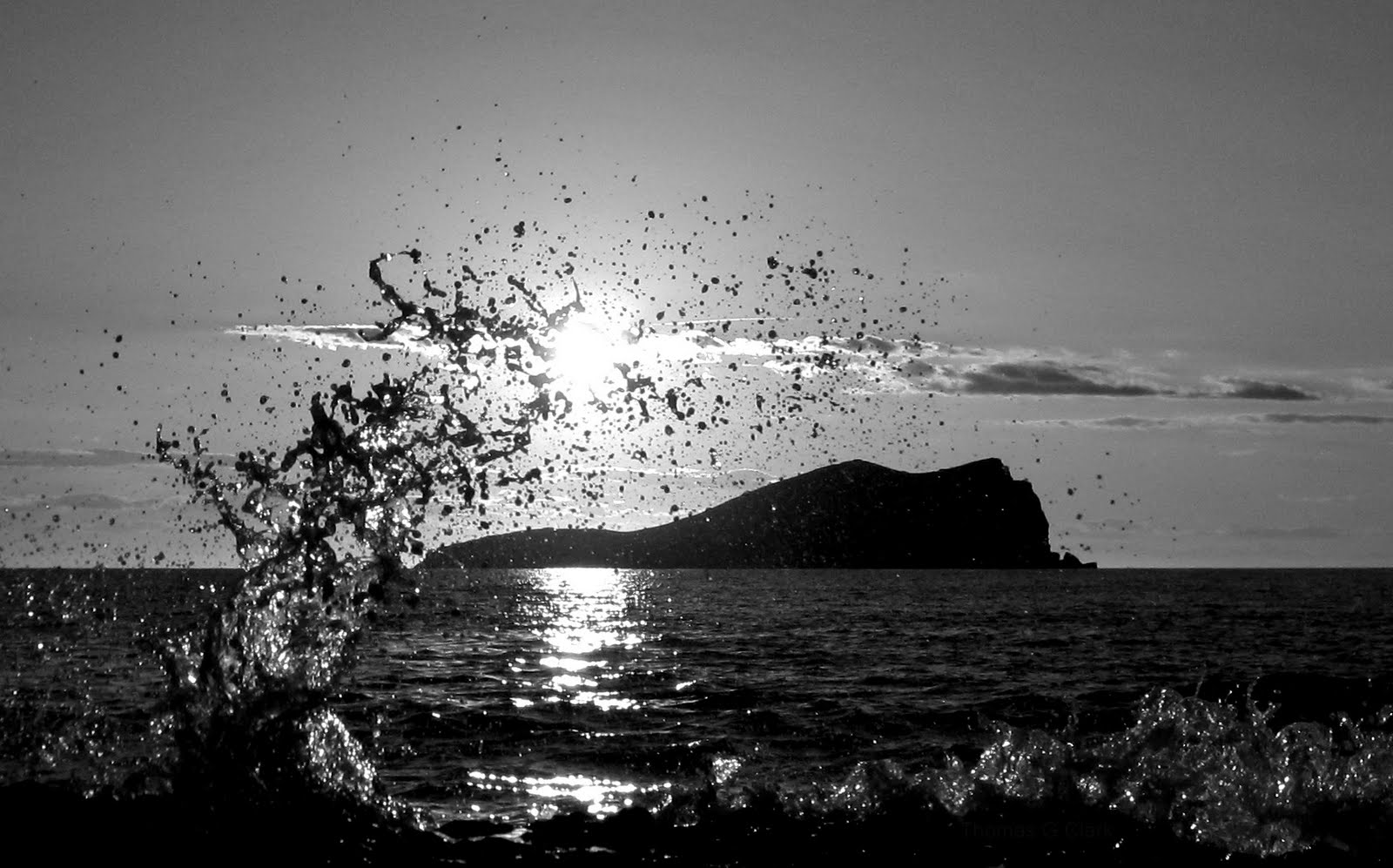 Ibiza sunset splash black white