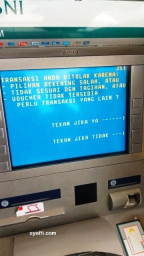 Transaksi Ditolak ATM BNI