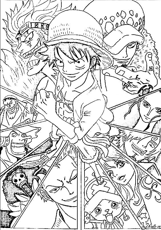 Luffy para colorear, pintar, dibujar, imprimir