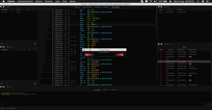 Dwarf : Full Featured Multi Arch/OS Debugger Built On Top Of PyQt5 & Frida