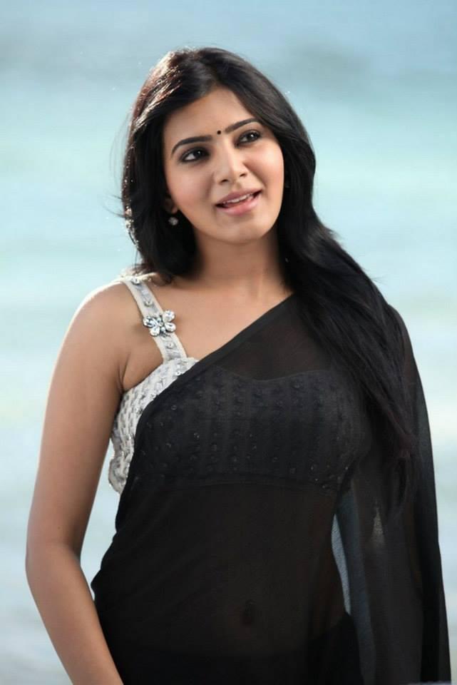 Hot Indian Actress In Sexy Black Transparent Wet Saree -5393