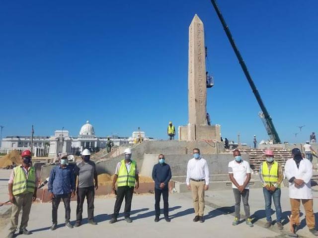 وزير السياحة والآثار يتفقد مسلة الملك رمسيس الثاني التى تم نقلها إلى مدينة العلمين الجديدة