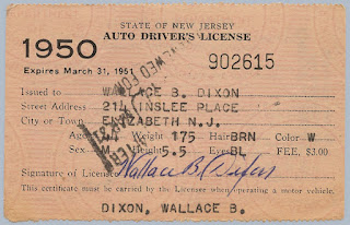1950 NJ Driver's License issued to W.B. Dixon.