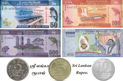 Countries and Currency Sri Lankan Rupee.