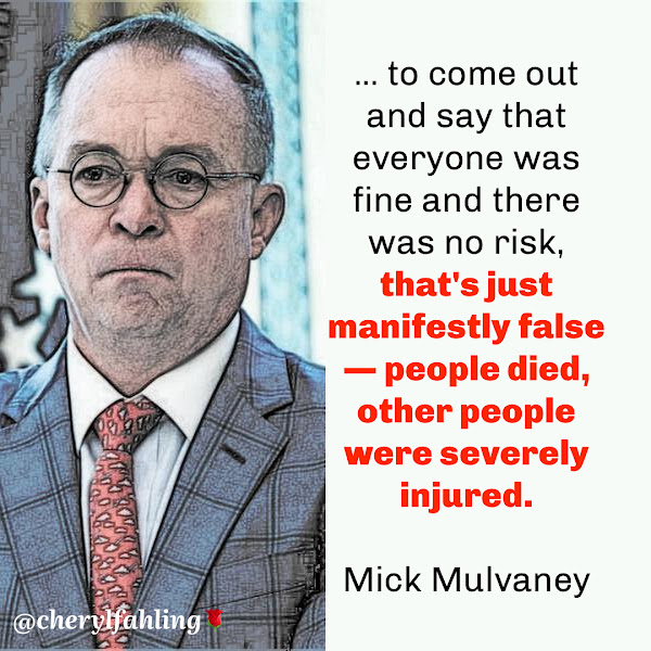 ... to come out and say that everyone was fine and there was no risk, that's just manifestly false — people died, other people were severely injured. — Mick Mulvaney, former Acting White House Chief of Staff