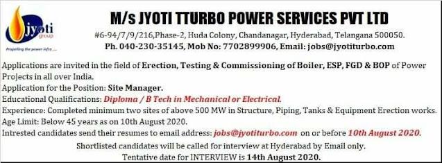 Diploma / B Tech Jobs Vacancy Jyoti Tturbo Power Services Pvt Ltd In Hyderabad, Telangana