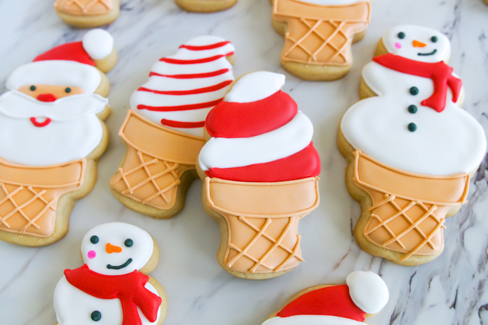 red and white decorated ice cream cookies