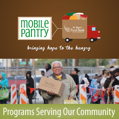 "top image: mobile pantry logo with text"" bringing hope to the hungry"" ""st mary's food bank alliance with image of truck with food items in it. bottom image: man holding box and bag of food text"" programs serving our community"