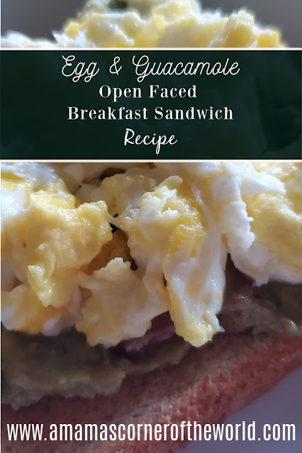 Pinnable Image for an Egg & Guacamole Open Faced Breakfast Sandwich Recipe