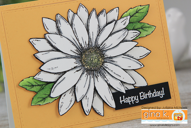 Happy Birthday Card by Juliana Michaels featuring Gina K Designs Daisy Delight Stamp Set by Theresa Momber