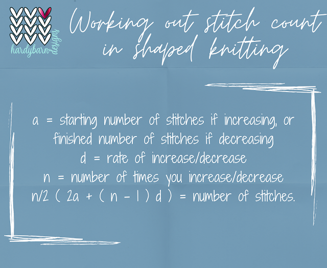 Shaped knitting stitch count formula