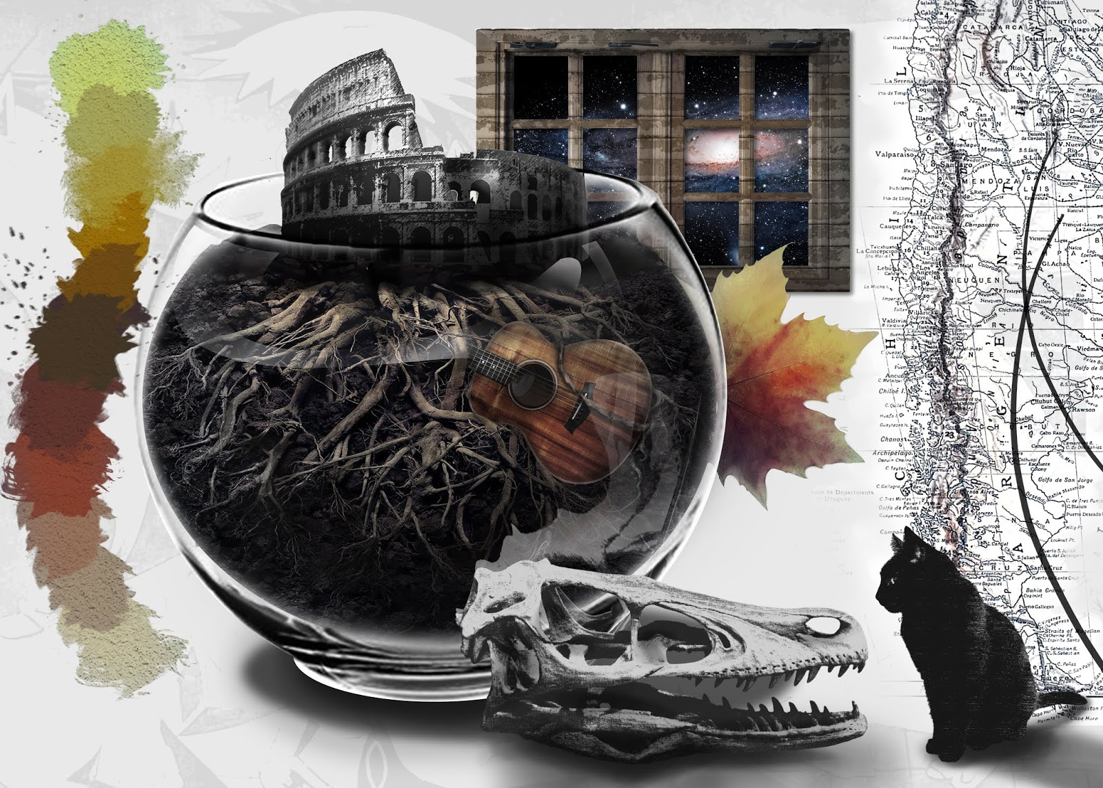 moodboard; cat; bowl; rome; argentina; map; colors; autumn; leaves; music; guitar; photoshop
