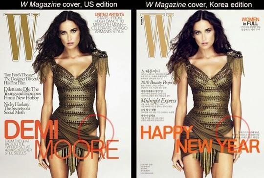 hasil photosop Demi Moore untuk W Magazine