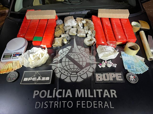 Em São Sebastião DF: um homem foi preso com 11 kg de drogas