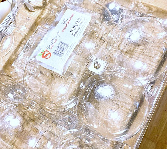 plastic container from apples