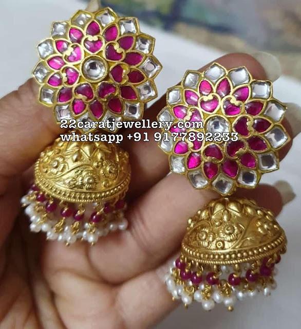 925 Silver Antique Finish Kundan Jhumkas