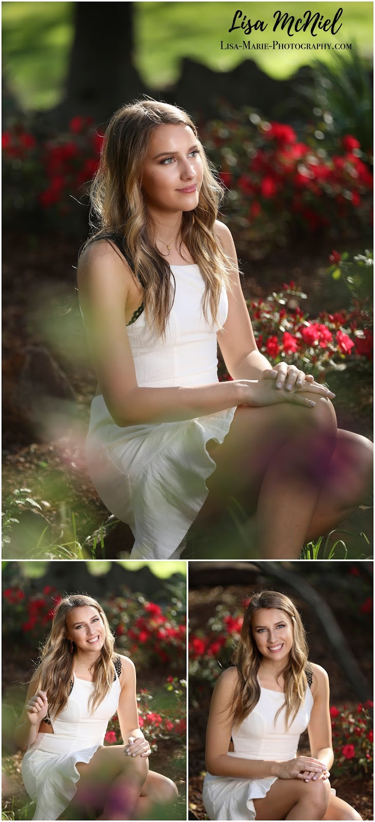girl sitting in white dress among flowers