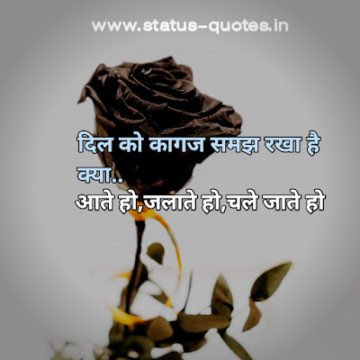 दिल को कागज समझ रखा है क्या..  आते हो,जलाते हो,चले जाते होSad Status In Hindi   Sad Quotes In Hindi   Sad Shayari In Hindi