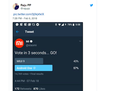 MIUI and Android One vote collecting results
