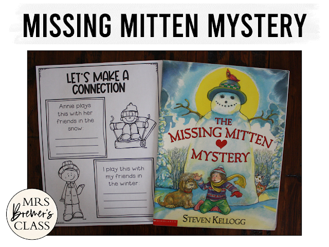 The Missing Mitten Mystery book study winter literacy unit with Common Core aligned companion activities and a craftivity for K-1