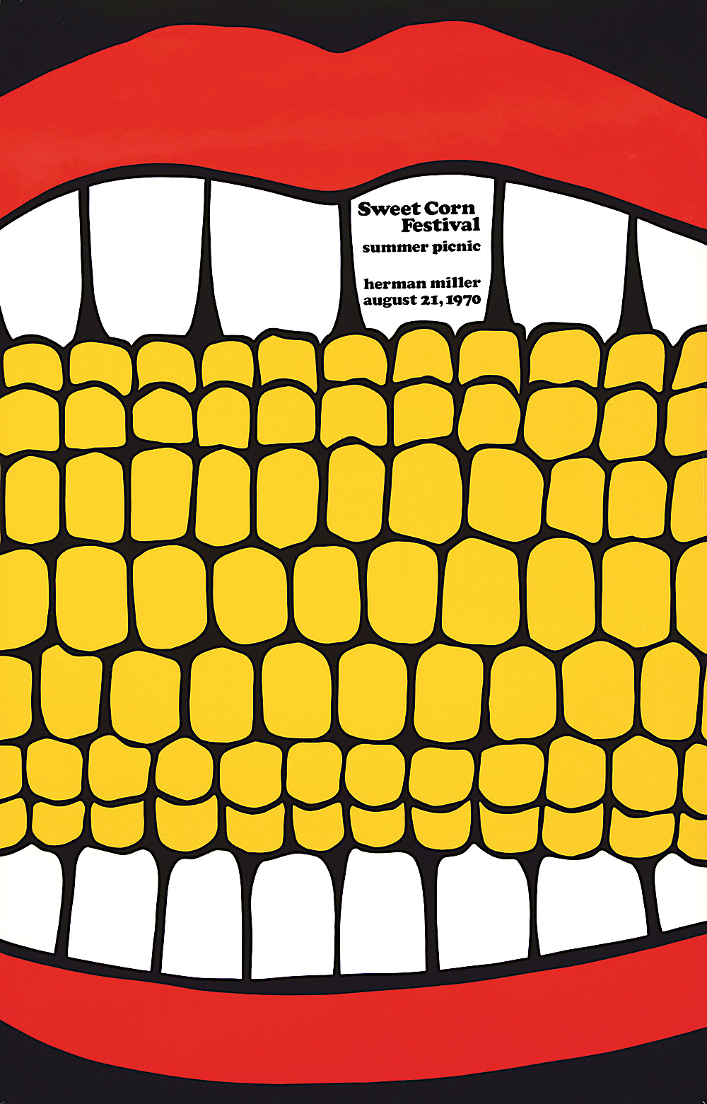 Sweet Corn Festival poster 1970, a giant mouth eating corn in color