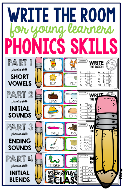 Write the Room Phonics pack. Your students will have fun expanding their vocabulary, practicing their handwriting skills, and practicing various phonics skills. A fun writing literacy activity. Perfect for a Kindergarten or First Grade writing center. The set includes practice with short vowels, initial sounds, ending sounds, and blends! #writingcenter #writing #writetheroom #kindergarten #kindergartenwriting #phonics #1stgrade