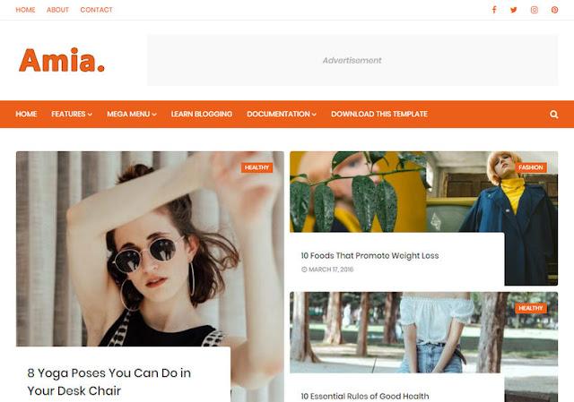 Amia Blogger Template adalah tema blog elegan pribadi Blogger generasi baru, yang dapat memberikan pengalaman browsing yang mendalam bagi pembaca Anda. Amia blogger theme dipoles & halaman seimbang yang indah menjadikannya template blogger gratis yang ideal untuk hampir semua jenis blog.