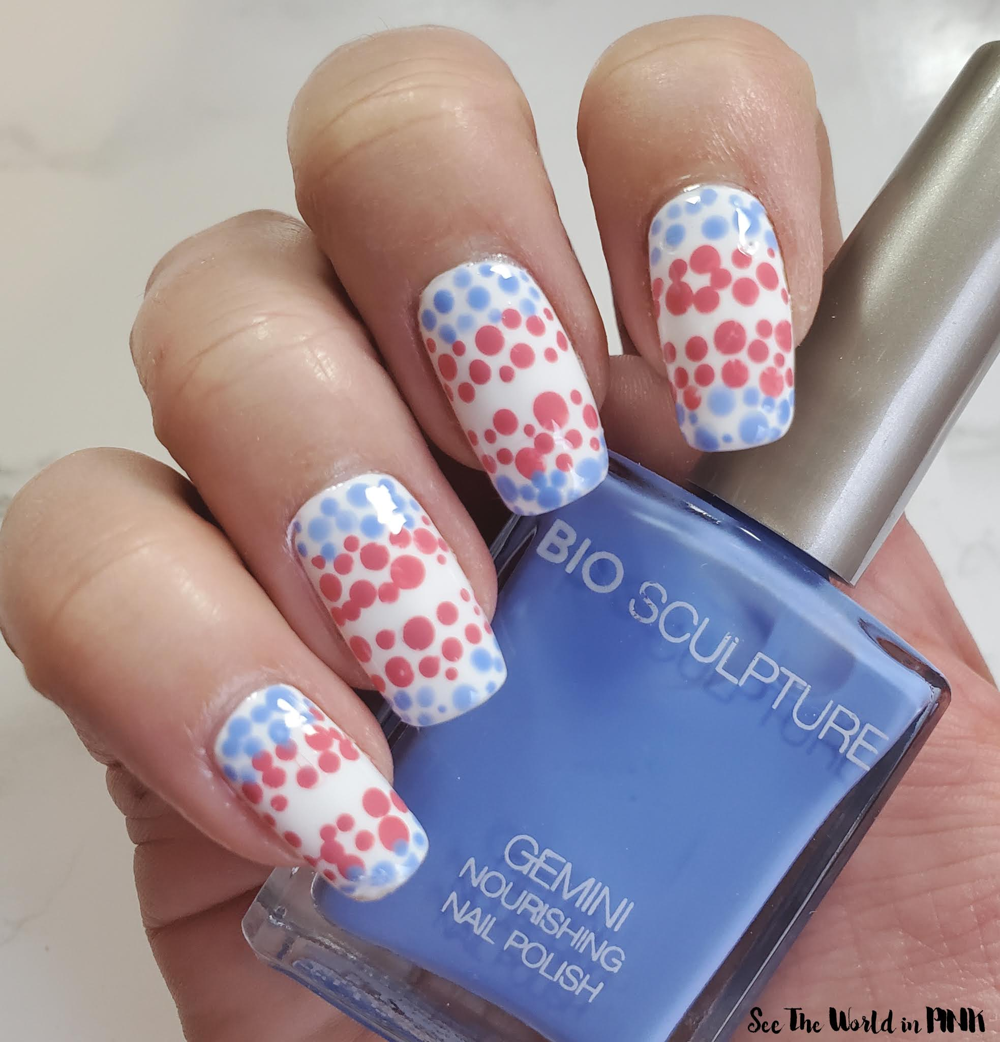 Manicure Monday - Dotted Trans Flag Pink, Blue and White Nails