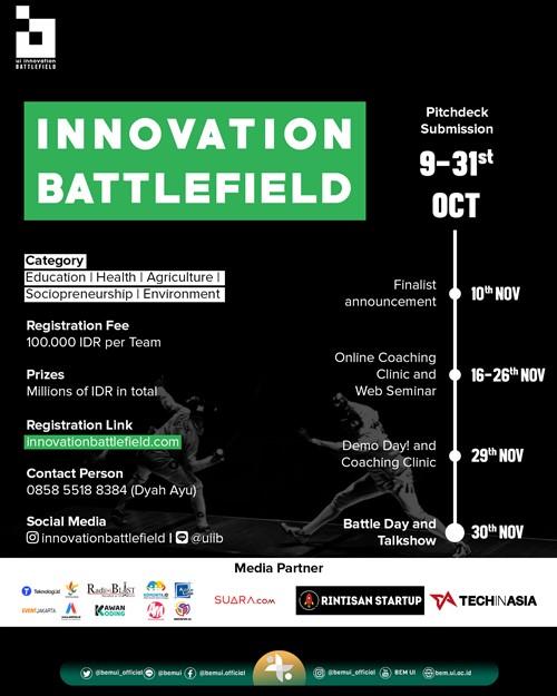 JOIN THE BATTLEFIELD UIIB Menantang Kalian Penggiat Inovasi dan Startup Untuk Battle dan Memamerkan Inovasi
