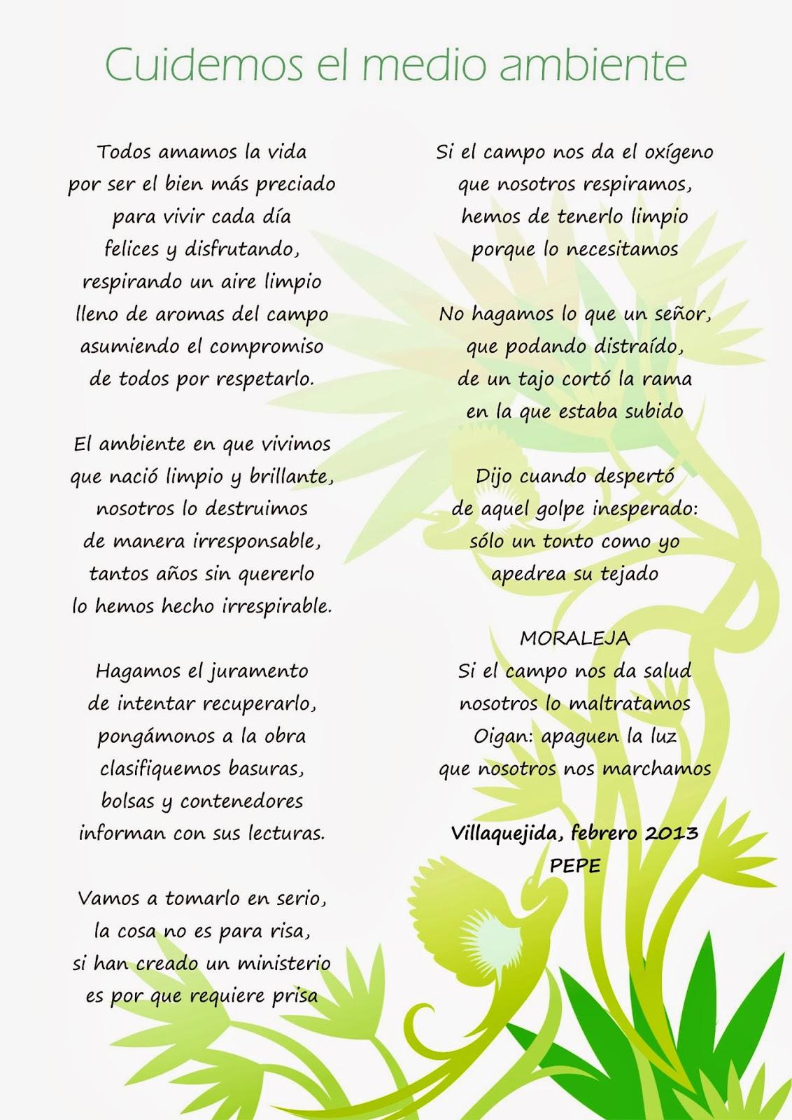 Hogares Verdes Mansurle Poema Cuidemos El Medio Ambiente